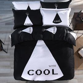 Unique Cool Printed Cotton 4-Piece Black Bedding Sets/Duvet Cover