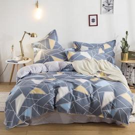 Irregular Geometric Pattern Printed Cotton 4-Piece Bedding Sets/Duvet Covers