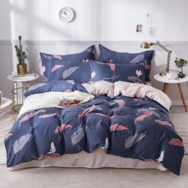 Leaves Printed Blue Cotton 4-Piece Bedding Sets/Duvet Covers