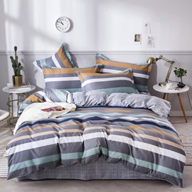 Simple Stripes Printed Grey Cotton 4-Piece Bedding Sets/Duvet Covers