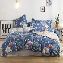 Flamingo and Tropical Leaves Printed Cotton 4-Piece Bedding Sets/Duvet Covers