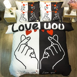Black and White Love You Printed Polyester 4-Piece Bedding Sets/Duvet Covers