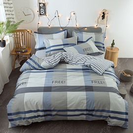 Simple Plaid and Stripes Printed Cotton 4-Piece Grey Bedding Sets/Duvet Covers