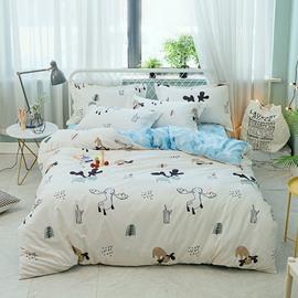 Cartoon Animal Printed 4-Piece Cotton Bedding Sets/Duvet Covers