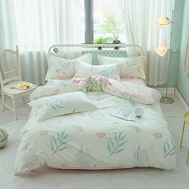 Leaves Printed Green and Pink 4-Piece Cotton Bedding Sets/Duvet Covers