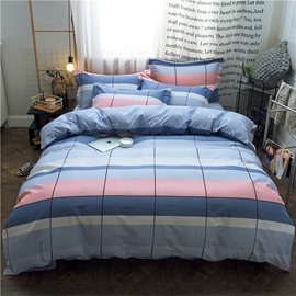 Plaid and Stripes Geometric Style Printed 4-Piece Cotton Bedding Sets/Duvet Covers