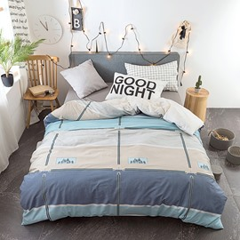 Plaid Pattern Quilting 4-Piece Cotton Bedding Sets/Duvet Covers