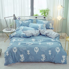 Plant Printed Blue 4-Piece Cotton Bedding Sets/Duvet Covers
