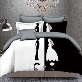 Bride and Groom Mr and Mrs Couple 4-Piece Polyester Bedding Sets/Duvet Cover