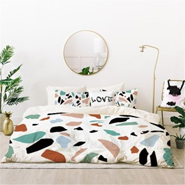 Breathable And Unfaded Geometric Printed 4-Piece Polyester Bedding Sets/Duvet Cover
