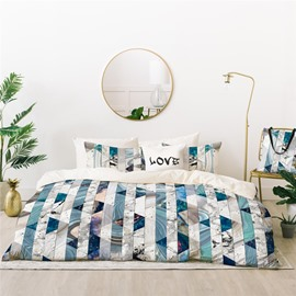 Crease-resistant And Comfortable Natural Style Marbling Printed 4-Piece Polyester Bedding Sets