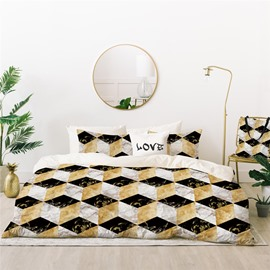 Breathable and Durable Marbling Printed 4-Piece Polyester Bedding Sets/Duvet Cover