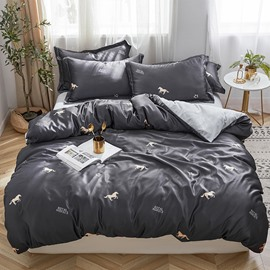 Comfortable and Snug Little Horse Printed 4-Piece Bedding Sets