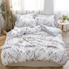 Brown Marble Printed 4-Piece Silk Bedding Sets