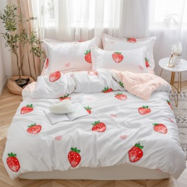 Silky And Skin-friendly Strawberry Reactive Printed 4-Piece Bedding Sets