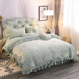 Warm and Comfortable Crystal Velvet Princess Style 4-Piece Fluffy Bed Skirts Duvet Cover