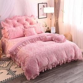 Elegant And Chili Crystal Velvet Princess Style 4-Piece Fluffy Bed Skirts Duvet Cover