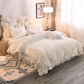 Advanced Jacquard Crystal Velvet Princess Style 4-Piece Fluffy Bed Skirts Duvet Cover