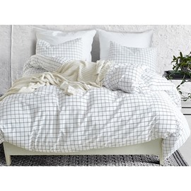INS Style Pure Checkered Patterns Printed 3-Piece Bedding Sets/Duvet Cover