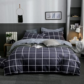 Black Grid Printed 4-Piece Bedding Sets/Duvet Covers