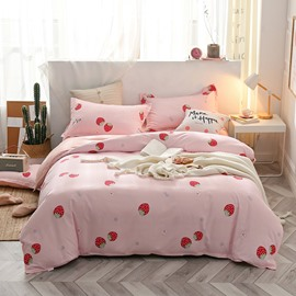 Pink Cartoon Strawberry Printed 4-Piece Bedding Sets/Duvet Covers