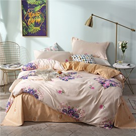 Pink Rose On The Yellow Background Printed 4-Piece Bedding Sets/Duvet Covers