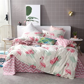 Flamingos And Flowers On White Background Printed 4-Piece Bedding Sets/Duvet Covers