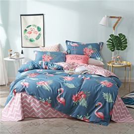 Flamingos And Flowers Aloe Cotton Printed 4-Piece Bedding Sets/Duvet Covers