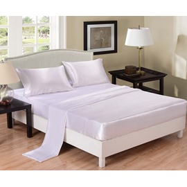 Pure White Printed Silk-like 4-Piece Bedding Sets/Duvet Covers