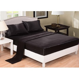 Pure Black Printed Silk-like 4-Piece Bedding Sets/Duvet Covers