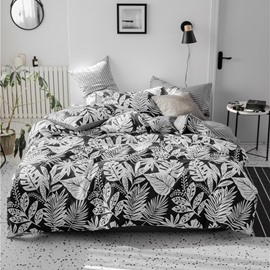 White Abstract of Various Leaves Concise Style 4-Piece Cotton Bedding Sets/Duvet Covers