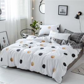 Yellow And Black Circles 4-Piece Cotton Bedding Sets/Duvet Covers