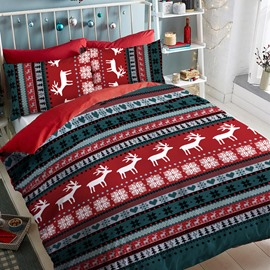 Red And Green Christmas Snow And Deer Polyester 4-Piece Bedding Sets/Duvet Cover