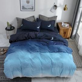 Gradient Color Duvet Cover Night Sky Soft Bedding 4-Piece Washable Bedding Sets Zipper Duvet Cover
