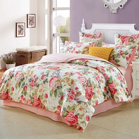 Vintage Style Watercolor Flowers Pattern 4-Piece Bedding Sets Zipper Duvet Cover with Ties Colorfast Wear-resistant with 1 Fitted Sheet 1 Duvet Cover 2 Pillowcases