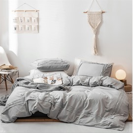 Simple style Solid Color Three-Piece Set Duvet Cover Set Cotton Bedding Sets Colorfast