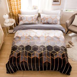 Simple Diamond Geometric Three-Piece Set Reactive Printing Duvet Cover Set Endurable Skin-friendly Polyester 2 Pillowcases