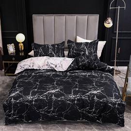 Duvet Cover Set Black Printing Dry Cleaning Polyester Bedding Sets 2 Pillowcases 1 Duvet Cover 1 Flat Sheet