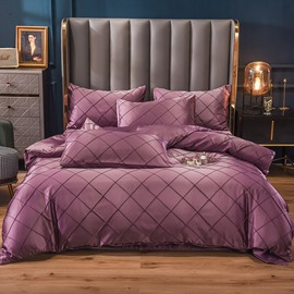 4-Piece Solid Color Soft Silky Bedding Sets Purple Duvet Cover Set Colorfast  2 Pillowcases 1 Flat Sheet 1 Duvet Cover