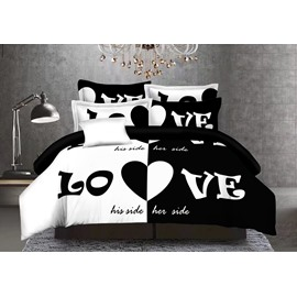 Lovers Black and White 4-Piece Polyester Duvet Cover Set with Zipper Closure and Corner Ties 2 Pillowcases 1 Flat Sheet 1 Duvet Cover Wear-resistant Endurable Skin-friendly All-Season Ultra-soft Microfiber No-fading
