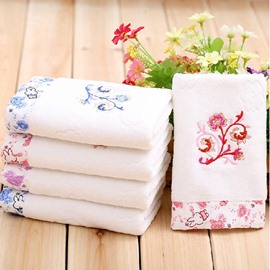 Wonderful Rabbit Embroidery Floral Full Cotton Towel