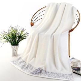 Super Plush Jacquard Solid Color Full Cotton Bath Towel