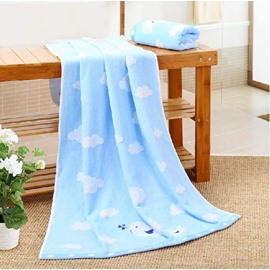 Adorable Birds White Cloud Soft Bath Towel