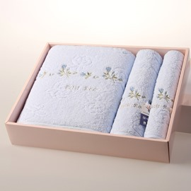 Delicate New Style Little Flower Pattern 100% Cotton Bath Towel Set