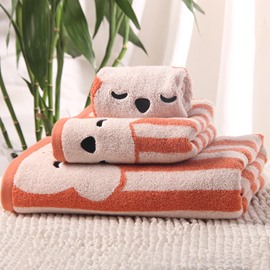 New Style Cartoon Bear and Stripes Pattern Bath Tower Set