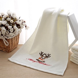 100% Cotton Embroidery Reindeer Christmas Theme Face & Hand Towel