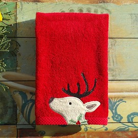 Reindeer Embroider Christmas Theme Cotton Face & Hand Towel