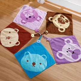 Square Shape Animal Pattern Children Face&Hand Towel