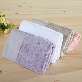 Square Shape Bamboo Fiber Plain Pattern Face&Hand Towel