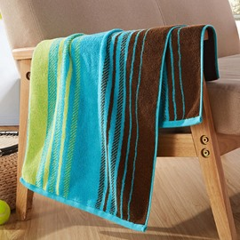 Stripe Pattern Cotton Rectangular Indoor Face&Hand Towel